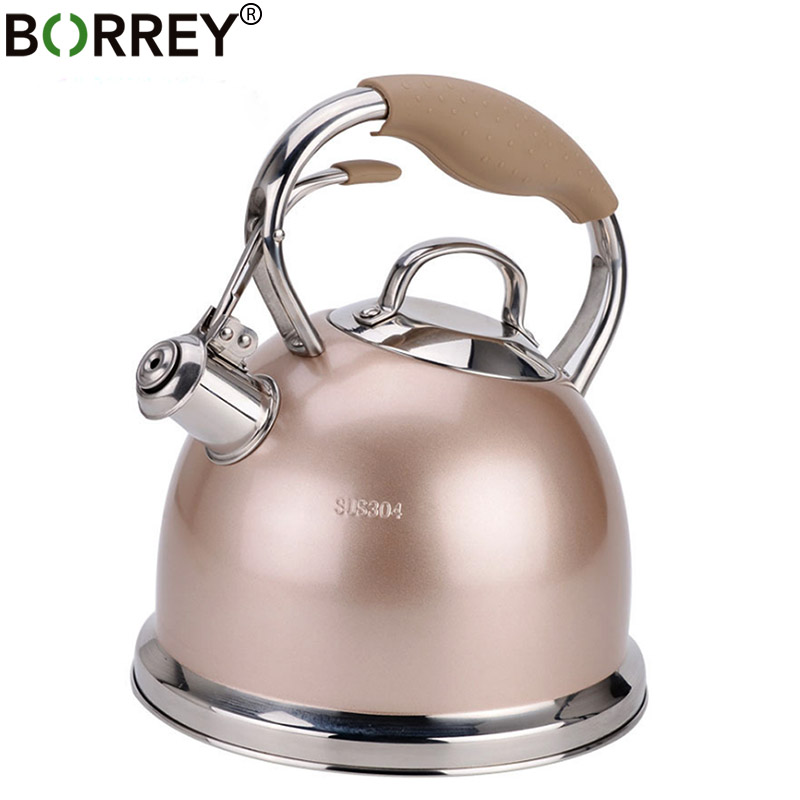 Borrey Stainless Steel Water Kettle Induction Cooker Whistling Kettle Gas Stove Kettle Pot Bouilloire Camping Boiler Water Pot Water Pots Kettles Aliexpress