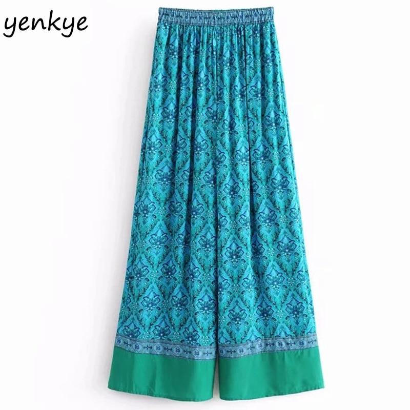 European Style Women Patchwork Printed   Wide     Leg     Pants   Female Elastic High Waist Casual Loose Summer Boho Trousers DJF8132