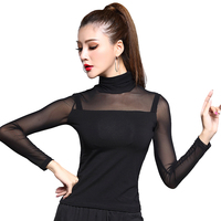 Vogue Black Persepctive Gauze Long Sleeve Sexy Latin Dance Top For Women Female Ballroom Modern Costume