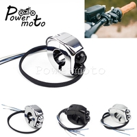 12 Colors Motorcycle 22mm 25mm Handlebar M switch Push Button Switch Control for Harley Cafe Racer Yamaha Bobber XS650 1 7/8