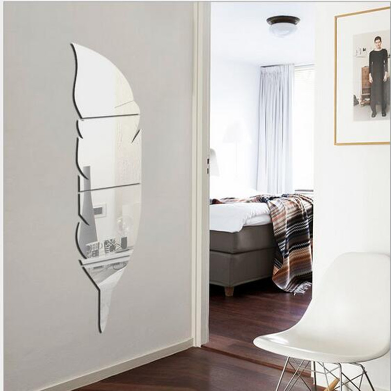4 Piece Lots 3d Stereo Acrylic Feathers Ready To Wear Mirror Wall Stickers Paste The Bathroom Decoration Mirror Paste