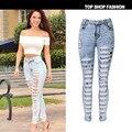 Nuevas Mujeres de Mezclilla de Diseñador 2016 de La Alta Cintura Ripped Jeans para la Mujer Vaqueros Mujer Delgada Elástico Jean Femme Hembra