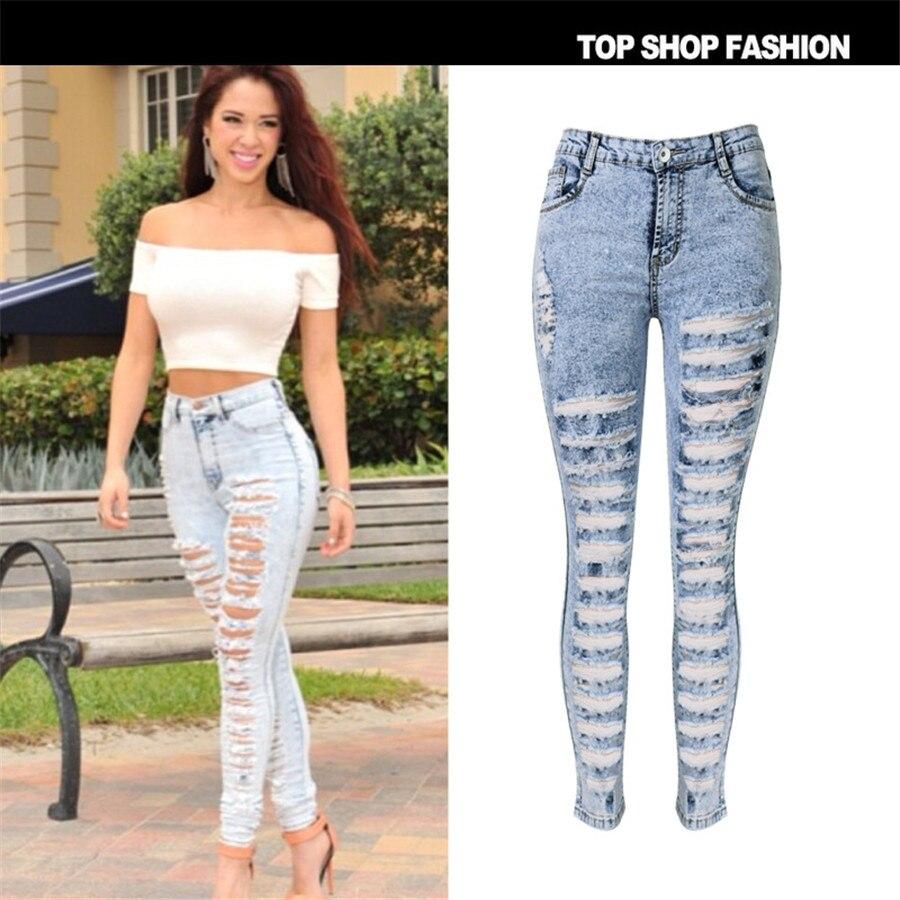 c9a666a8d9e5d ROSICIL New Designer Denim Women 2016 High Waist Ripped Jeans for Women Skinny  Jeans Woman Elastic Slim Jean Female Femme-in Jeans from Women s Clothing  on ...