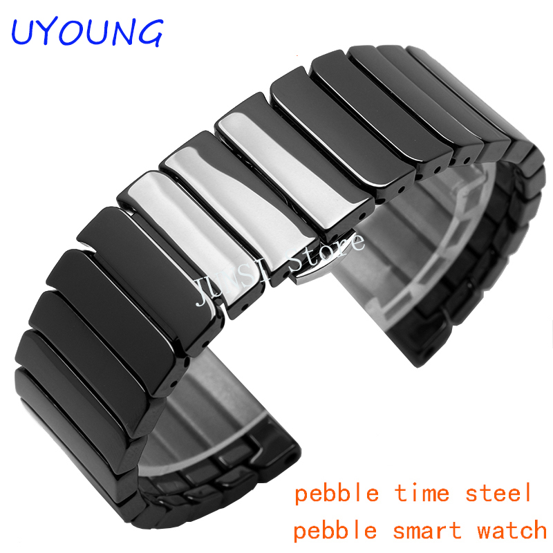Quality Ceramic Mens Watchband 22mm For Pebble Time Steel Smart Watch Band Luxury Strap Bracelet
