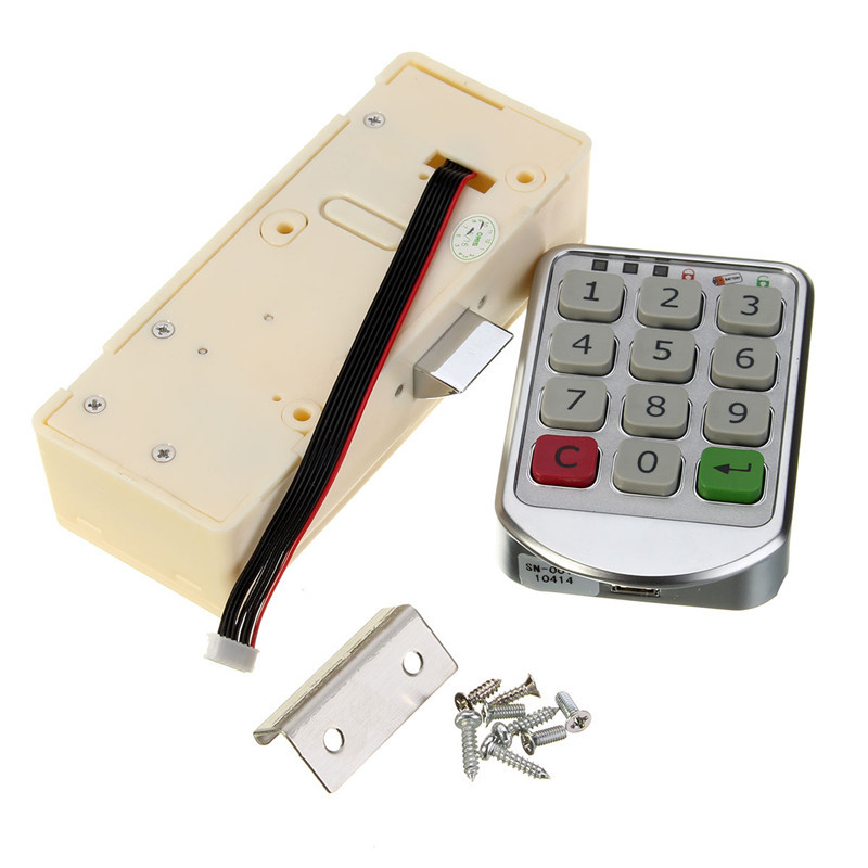Safurance Silver Metal Digital Electronic Password Keypad Number Cabinet Code Locks Intelligent Cabinet Lock Home Security