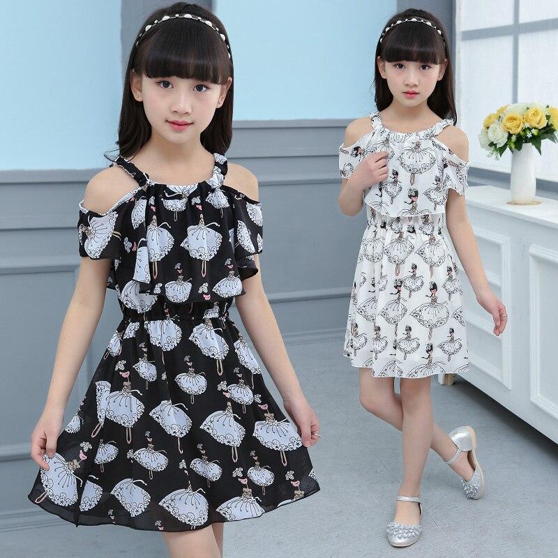 Dětské Dívky Tisk šaty Off Rameno Léto Šifónové Děti Šaty Oblečení Dětské Oblečení