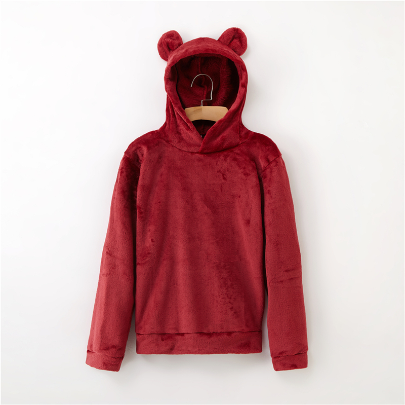 Women's Flannel Hoodies Sweatshirts Lovely With Bears Ears Solid Warm Hoodie Autumn Winter Casual Campus Pullovers Coat 11