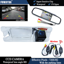 FUWAYDA Wireless Color CCD Chip Car Rear View Camera for Nissan March Renault Logan Sandero+4.3 Inch rearview Mirror Monitor