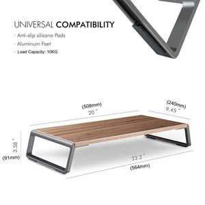 Image 3 - شاشة حامل الناهض مع قدم معدنية لطابعة عرض iMac MacBook LCD ، lapoffice منضدة منظم منصة قوية توفير مساحة