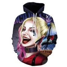 Movie Suicide Squad Harley Quinn Sweatshirt Hoodie Superhero Cosplay Costume Coats