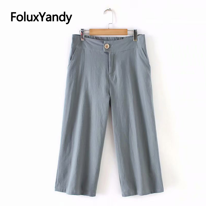 2019 New Cotton and Linen   Pants   Women Plus Size Trousers Casual Loose Summer   Wide     Leg     Pants   KKFY3464