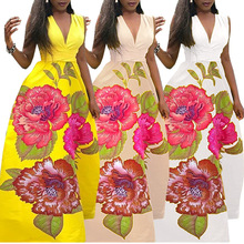 S-XL v neck sleeveless long dress flower floral print night evening party dress summer ceremony club maxi dress flower girl dress long party dress sleeveless girls dress child floral print