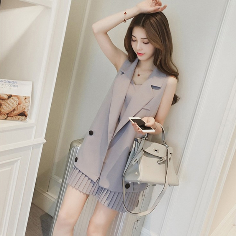 Hengsong Spring And Summer New Long Suit Vest Jacket + Pleated Strap Dress Fashion Suit Female Casual Two-Piece Suit 722091