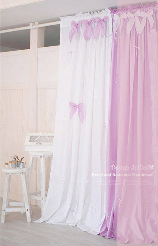 1piece pink fabric bowknot blue purple princess window - Blue and purple bedroom curtains ...
