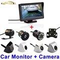"""4.3 """"polegadas HD Monitor de Retrovisor Do Carro 170 Graus Auto Parking System Black White Silver Chrome LED À Prova D' Água Câmera de Visão Traseira Do Carro"""