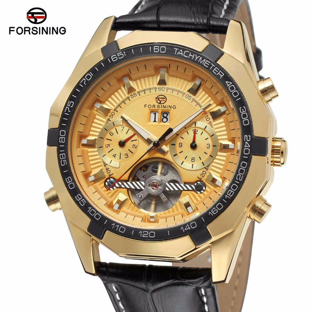 FORSINING Men Auto Mechanical Tourbillon Watches Fashion Genuine Leather Strap Wristwatches Calendar Date Sub-dial WINNER WATCH winner men s automatic mechanical watch stainless steel strap date calendar sub dial supersize new fashion sports design