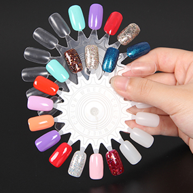 10pcs clear false nail art tips polish display wheel for practice