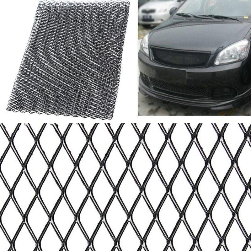 אוניברסלי שחור/כסף אלומיניום ראסינג גריל רשת Vent רכב כוונון גריל 100cm x 33cm