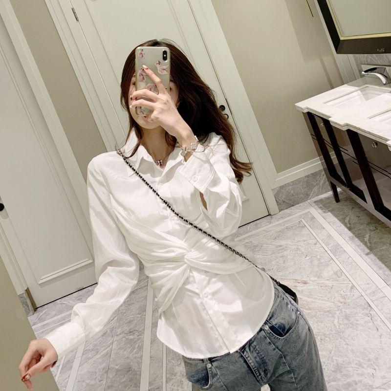 Nouveau 2019 le printemps blanc croix département de cultiver la moralité montrer chemise mince G0128 femmes chemise à manches longues