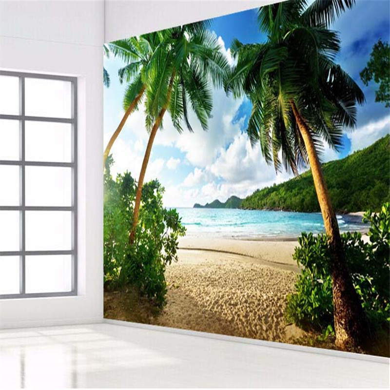 photo wallpaper High quality 3d wall paper Sea palm beach island Travel TV sofa backdrop bedroom large wall mural wallpaper