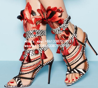 Luxury Mancuello 2017 Summer Newest Multi Color Gladiator Cuts Out Red Pearls Tassel Fringed Feather High