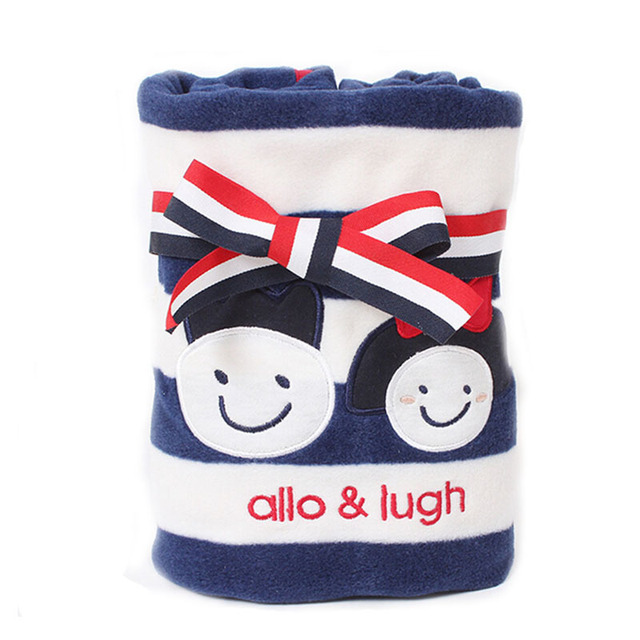 New Stripe Baby Blankets Newborn Fleece Baby Wrap Swaddling Winter Warm Air Conditioning Blanket Boys Girls Brand Bedding