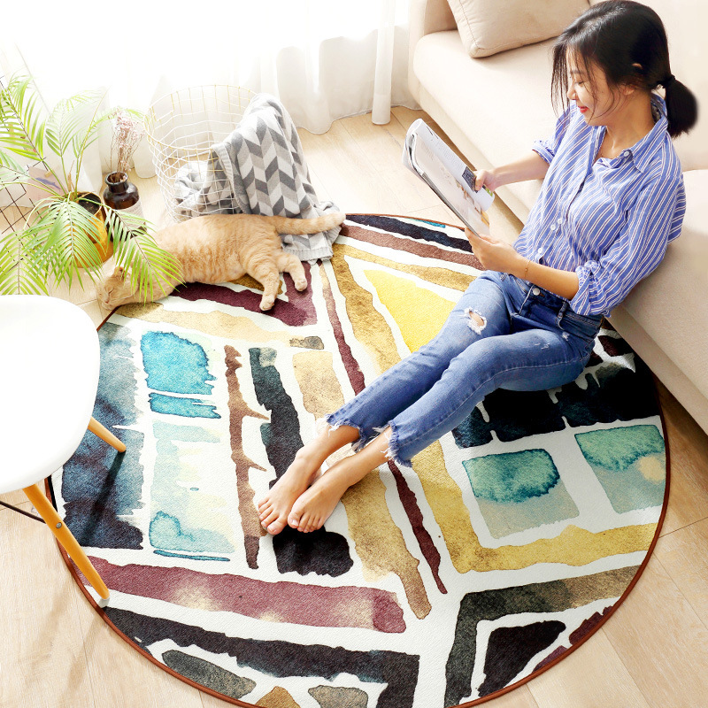 Modern bohemian geometric rug hairless chenille home non slip mat living room sofa coffee table large round carpet customize in Carpet from Home Garden