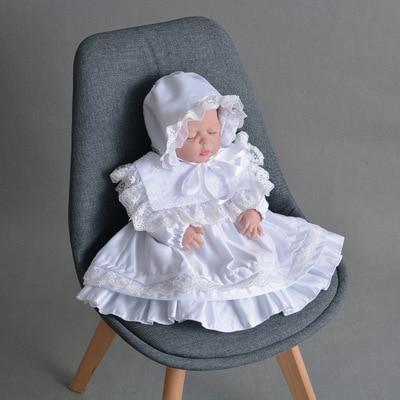 Bébé fille robe nouveau-né enfant en bas âge infantile blanc ivoire à manches longues robe de baptême 1 an robe d'anniversaire nouveau-né dentelle robe de soirée