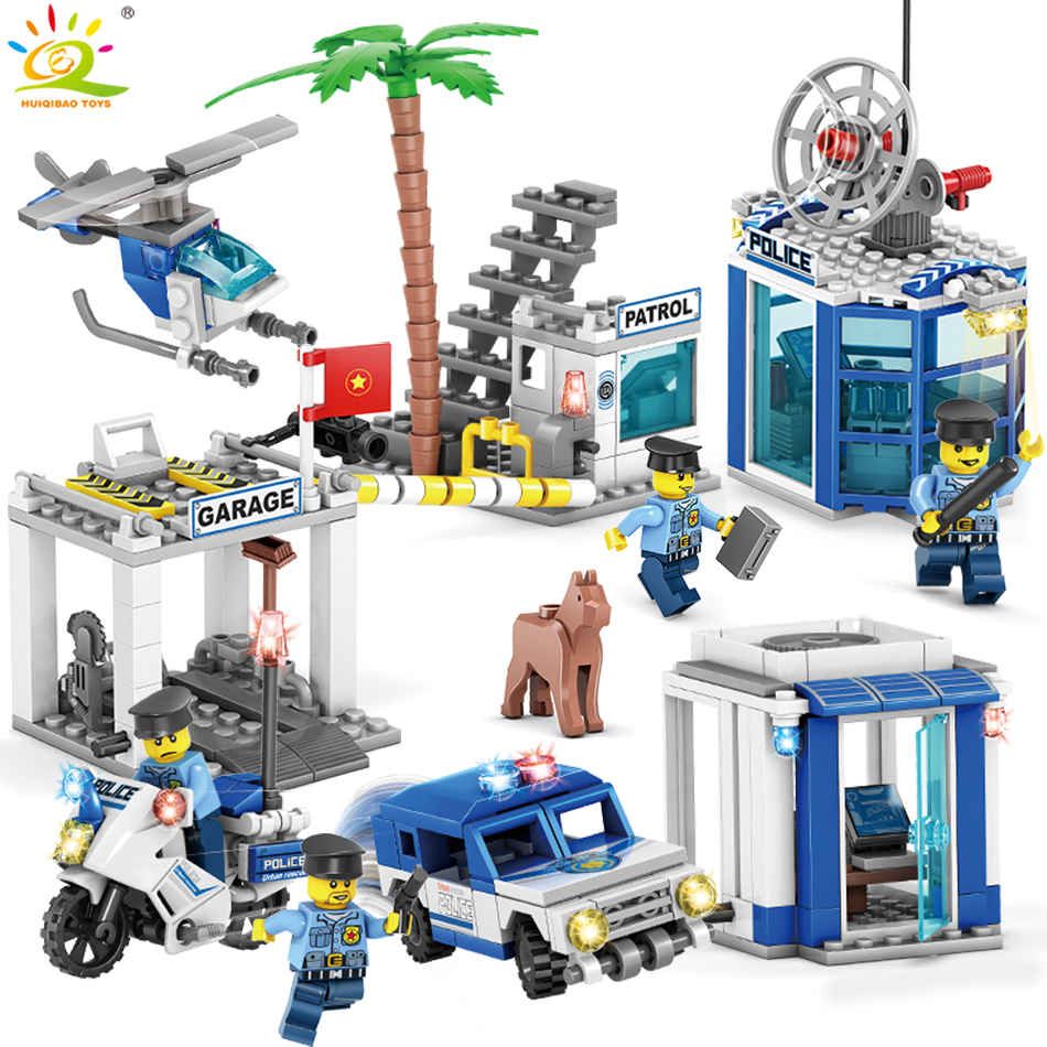 4in1 Police station Helicopter car Building Blocks Compatible Legoed City Policemen figures Educational Bricks Toys For children 407pcs sets city police station building blocks bricks educational boys diy toys birthday brinquedos christmas gift toy