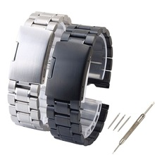 Free Shipping 22mm Stainless Steel Watch Band For Motorola Moto 360 Smart Watch + Tools Black/Silver free shipping 13 pcs flat and cross stainless steel watch screwdriver set for watch repair
