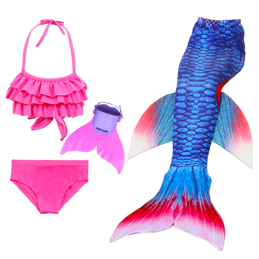 4Pcs/14 Colors Girls Mermaid Tails For Swimming Costume Mermaid Swimsuit Kids Princess Swimmable Bikini Dress Swimwear