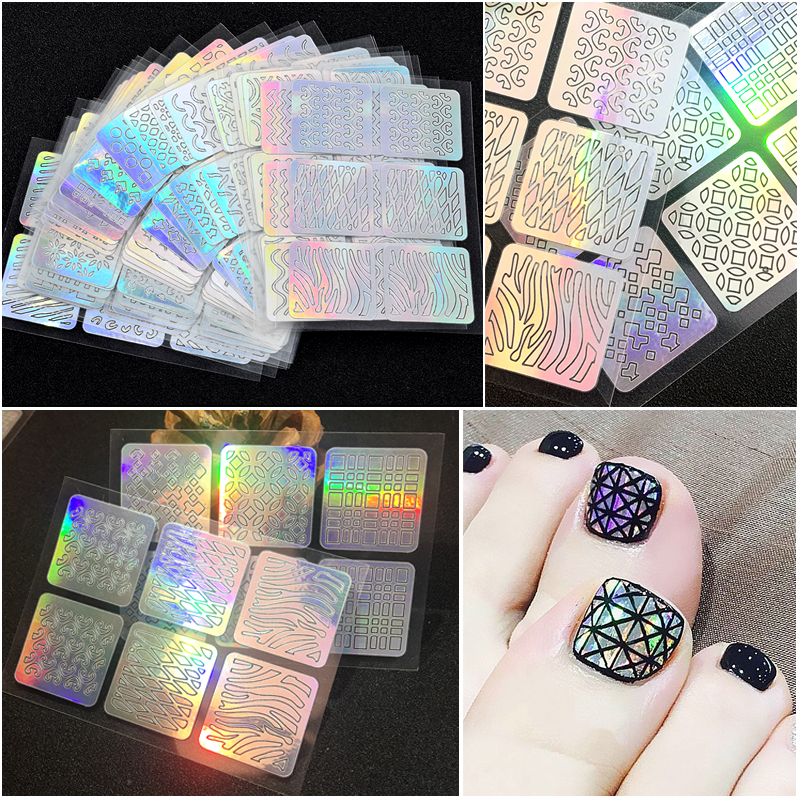24 Sheets/set Hollow Irregular Stencils Stamp Nail Vinyls Laser Silver Nail Art Stickers 24 Different Styles DIY Manicure Tools clearance 12 tips sheet diy vinyls nail stencil 24 styles laser silver nail art stickers stamp template manicure pattern tool
