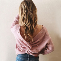 backless Pearl pink knitted sweater abrigo mujer women sweaters and pullovers femme crop top women long sleeve chompa knitwear