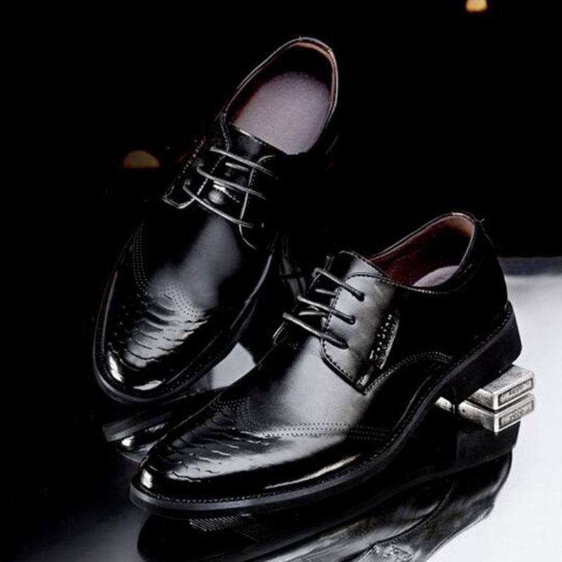 Genuíno Sapatos Butom De Desgaste Não Black Homens Pontas Pé Brogue Dedo Lace Do Casamento Macio yellow Trabalham Respirável Negócios Couro deslizamento up Patente Ygg4qwf