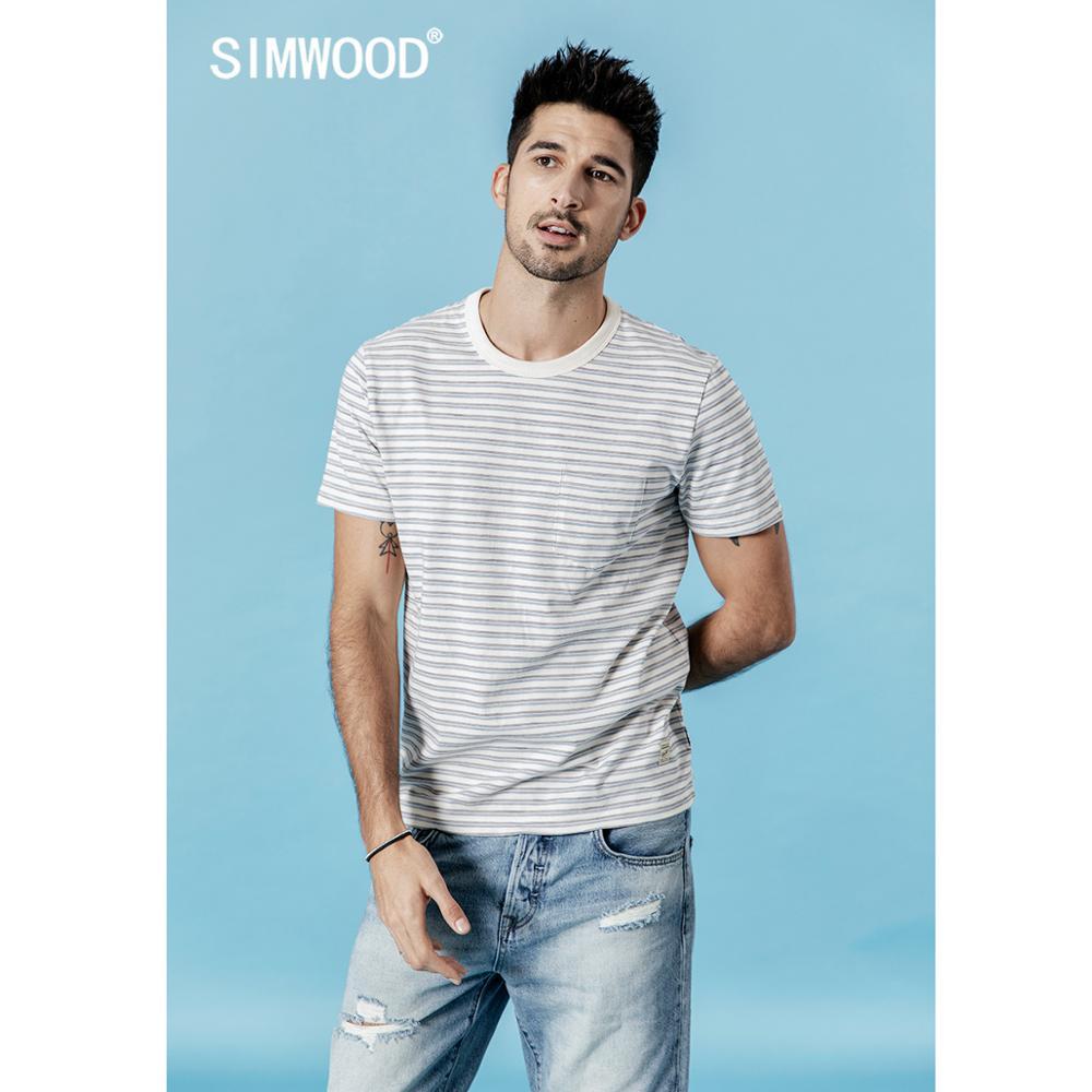SIMWOOD Striped T Shirt Men 2020 Summer New T-shirt Breton Top Casual 100% Cotton Breathable Plus Size Tshirt 190324