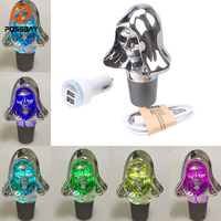 POSSBAY Touch Activated LED Light Color Changing Manual Car Shift Knob Gear Shifter Car Styling Skull Gear Shift Knob