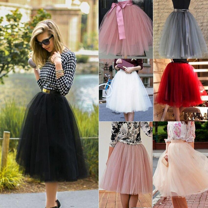 7 camadas midi tule saia para meninas moda tutu saias feminino sólido laço vestido de baile festa petticoat lolita faldas saia jupe