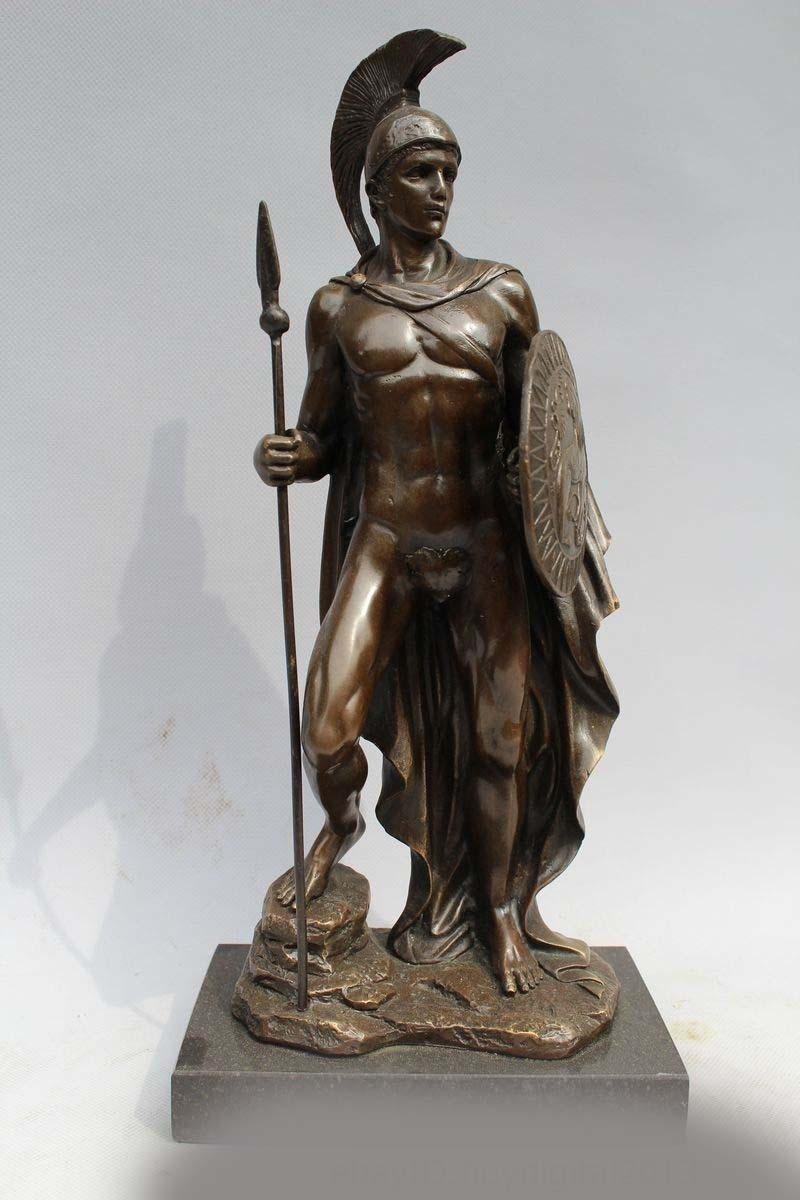 13 Quot Western Art Sculpture Pure Bronze Marble Roman Warrior
