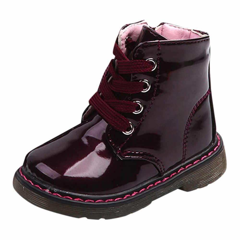 Kinderen Motorlaarzen Pu Leer Waterdichte Laarzen Winter Kinderen Snowboots Merk Meisjes Jongens Schoenen Rubber Sneakers Laarzen