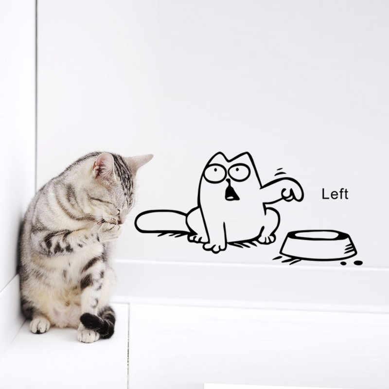 Милый Черный кот Попрощайтесь настенные наклейки в туалет ванная комната магазин окно автомобиль Танк домашний декор Мультяшные наклейки с животными виниловая настенная живопись