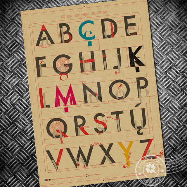 Vintage poster English alphabet collection Retro paper print picture ...