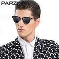 Parzin Vintage Semi Rimless Polarized Sunglasses Women Fashion Hand Made Men Sunglasses  Driver Gasses Black With Case 9292
