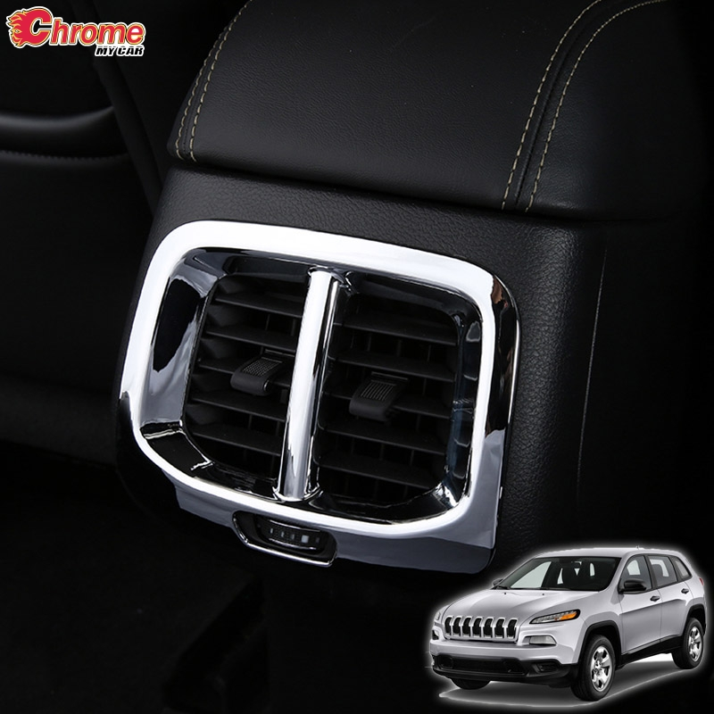 For Jeep Cherokee KL Rear Air Vent Armrest Box Outlet Chrome Cover Trim 2014 2015 2016 2017 2018 2019 Accessories Car Styling