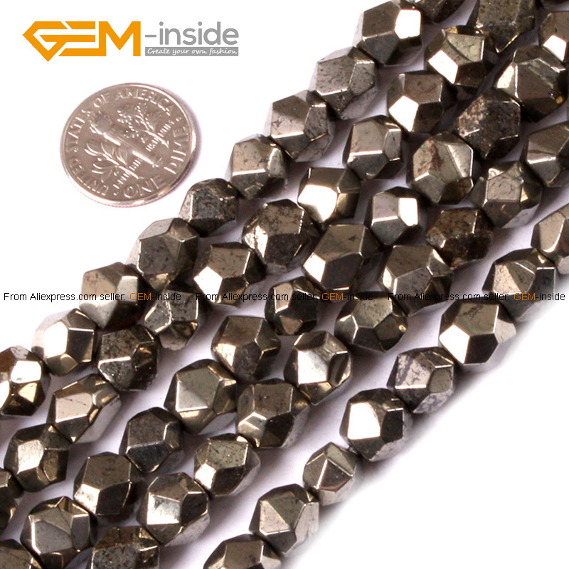 Natural Faceted Silver Gray Pyrite Stone Beads For Jewelry Making 6 10mm 15inches DIY FreeShipping Wholesale