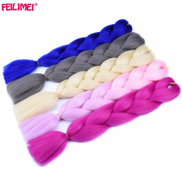 Feilimei Blonde Pink Gray Colored Crochet Braids Heat Resistant Hair 60cm 100g/pc Synthetic Ombre Jumbo Braiding Hair Extensions