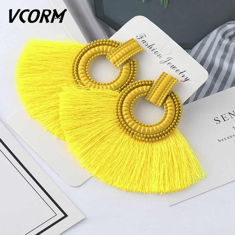 VCORM Bohemian Tassel Big Drop Earrings for Women Fashion Jewelry Earrings Red Black Cotton Silk Fabric Fringe Earring Gift