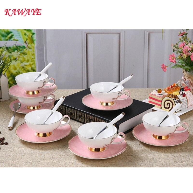 1 Набор KAWAYE розовая керамическая костяная китайская кофейная чашка с блюдцем комплект британская черная чайная чашка набор кофейных чашек ...