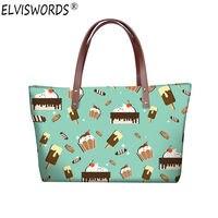 ELVISWORDS Ice Cream Print Handbags Women Bags Designers 3D Cartoon Tote Vintage Casual Bags Luxury Handbag