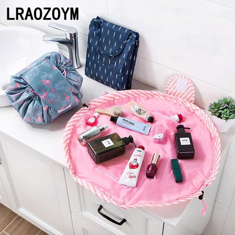 LRAOZOYM Makeup Organizer Travel Storage Lazy Cosmetic Bag Large Vapacity Portable Drawstring Polyester