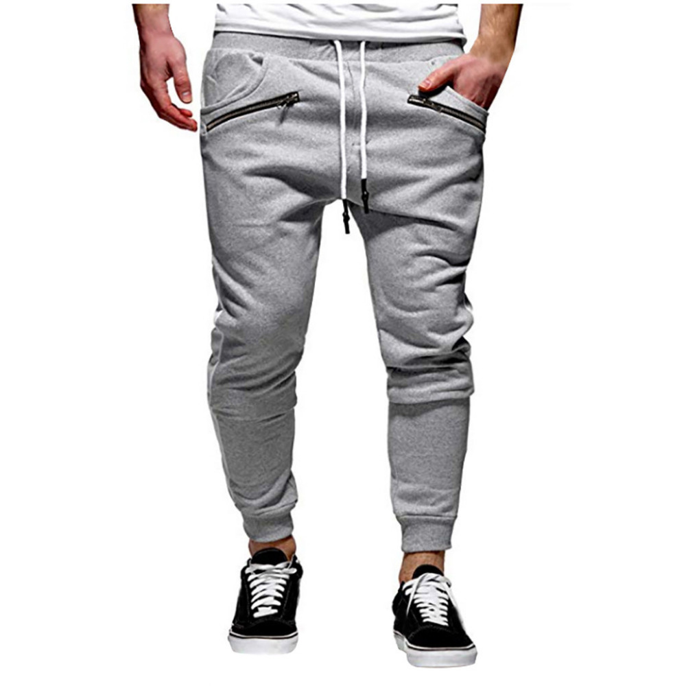 2019 Men\`s zipper solid color jogging pants casual pocket sports cargo pants outdoor sports harem pants men Quick drying 40J6 (3)